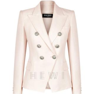 Balmain Pale Pink Double Breasted Blazer