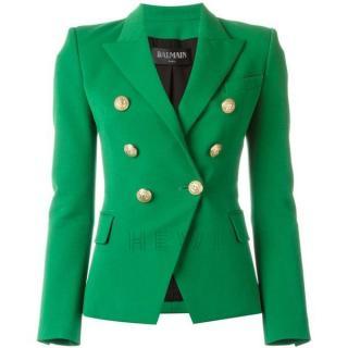 Balmain Green Double-Breasted Blazer