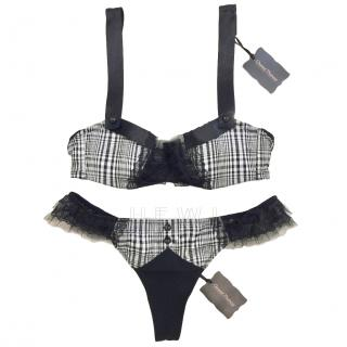 Chantal Thomass Black & White Tartan Check Bra & Thong Set