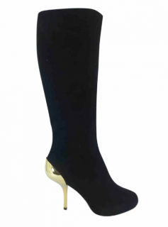 Giuseppe Zanotti Suede Gold Heel Long Boots