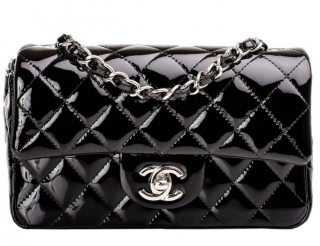 Chanel Black Quilted Patent Small Classic Flap Bag