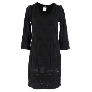 Chanel Black Eyelet-Knit Dress