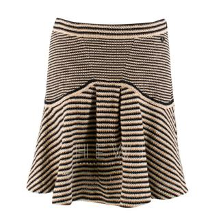 Chanel Striped-Knit Fluted-Hem Skirt