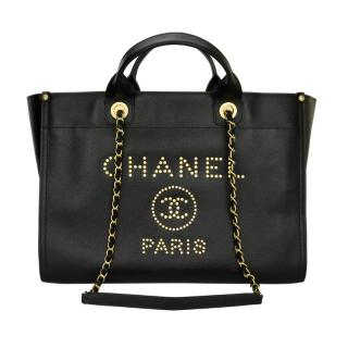 Chanel Medium Black Caviar Studded Deauville Tote Bag