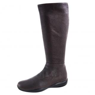 Prada Brown Leather Mid Calf Boots
