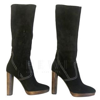 Burberry Suede Wooden Heel Boots