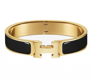 Hermes Black & Gold Clic H Bracelet