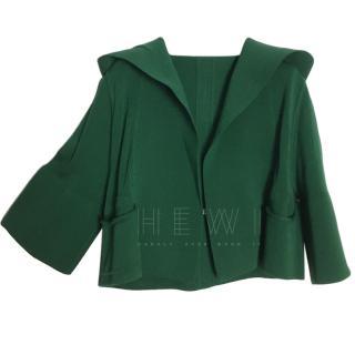Rick Owens Green Knit Cropped Jacket