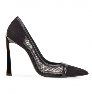 Lanvin black mesh detail pumps