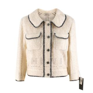 Nina Ricci Tweed Cream Stitch Detail Jacket