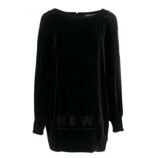 Alexander McQueen Black Velvet Long-Sleeve Mini Dress