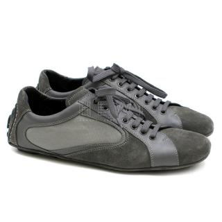 Ermenegildo Zegna Grey Suede, Leather & Mesh Sneakers