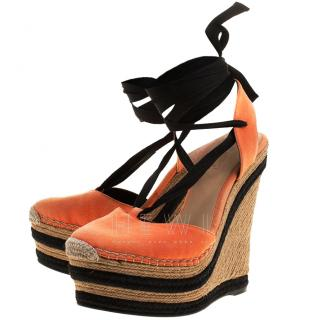 Gucci Orange Alexis Slingback Wedge Sandals