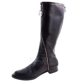 Alexander McQueen asymmetric zip detail knee high boots