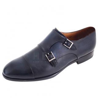 Magnanni blue leather double monk shoes