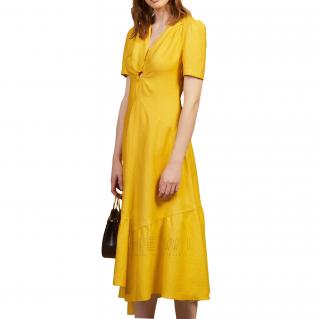 Sandro Yelllow Long Dress Trimmed With A Covered Ring - New Season