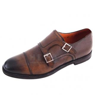Santoni Brown Double Monks shoes