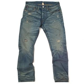 RRL Jeans Slim Boot Cut Distressed Jeans