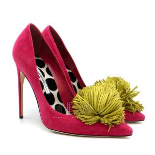 Brian Atwood Hot Pink Suede Pom Pom heels