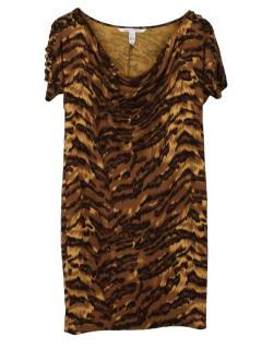 Diane von Furstenberg Tiger-Print Cowl-Neck Dress