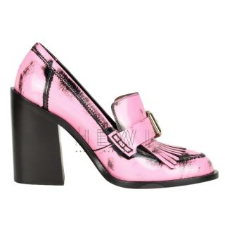 Mulberry Darby Pink Leather Block-Heel Loafers