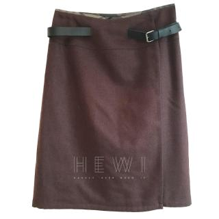 Barbour Leather Strap Wool Pencil Skirt
