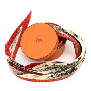 Hermes Accordion Pleat Silk Plisse Scarf