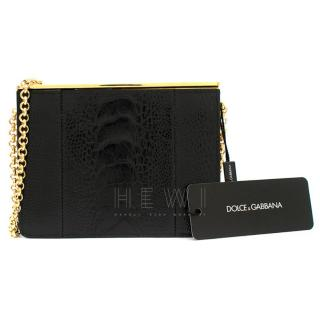 Dolce & Gabbana Black Crocodile-Effect Leather Bag