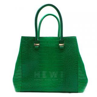 Victoria Beckham Liberty Emerald Crocodile-Effect Leather Tote
