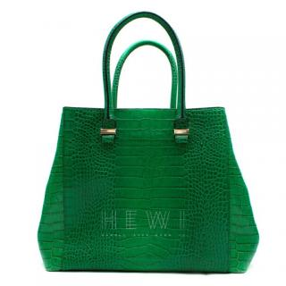 Victoria Beckham Liberty Emerald Crocodile-Effect Leather Tote