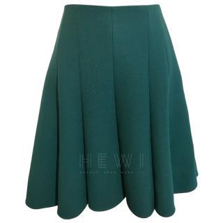 Strenesse Forest Green Virgin Wool Skater Skirt
