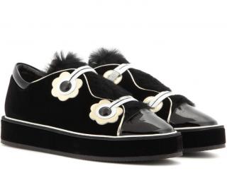 Nicholas Kirkwood Velvet Polly Neige Platform Sneakers