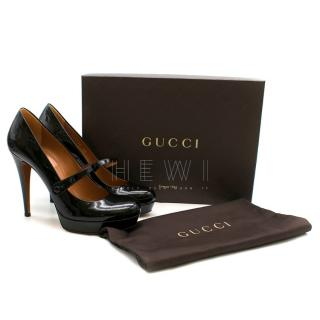 Gucci Black Patent Round Toe Mary Jane Pumps