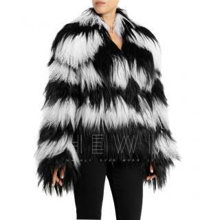 Gucci Striped shearling & goat hair jacket