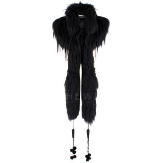 Alexander McQueen Black Fur Cape Scarf