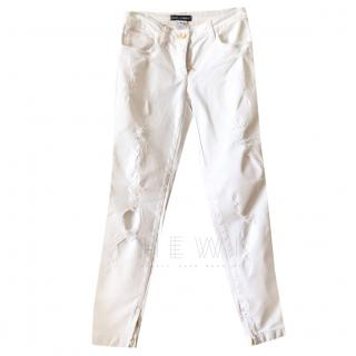 Dolce & Gabbana White Distressed Jeans