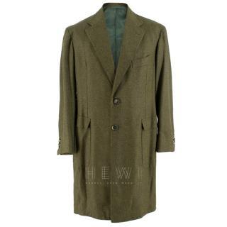 Gennano Solito long green textured coat