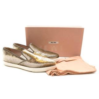 Miu Miu Sequin Embellished Skater Loafers