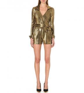 Diane von Furstenberg Mia Gold Wrap Playsuit