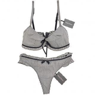 Chantal Thomass Black & White Striped Pad Bra & Thong Set