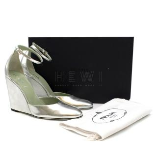 Prada Mary Jane Silver Wedges