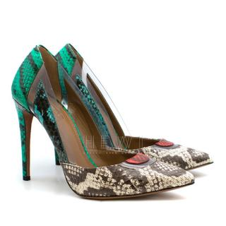 Aquazzura Rainbow Python Embossed & PVC Pumps
