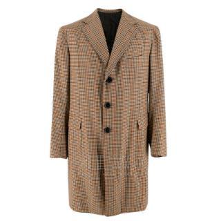 Sartoria Solito Tailored Brown Checked Overcoat