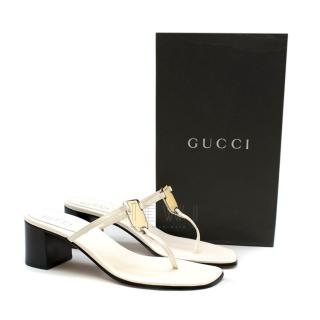 Gucci White Leather Block Heeled Thong Sandals