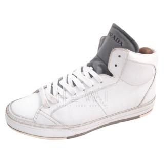 Prada white & grey high top sneakers