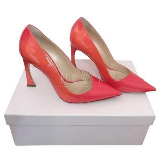 Dior Choc Heel Coral Patent Pumps