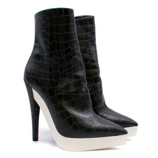 Stella McCartney Black & White Croc Embossed Ankle Boots