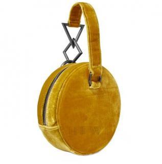 Tara Zadeh Yellow Azar Velvet Clutch