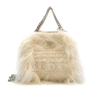 Stella McCartney Cream Mini Faux Fur Falabella Bag