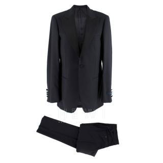 Lanvin Wool & Mohair-Blend Navy Tuxedo Suit